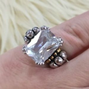 18K gold sterling ring caviar cocktail chunky 6